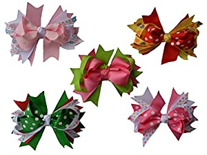 Qandsweet Baby Girl's Ribbon Grosgrain Clips Hairpins Barrettes (12pack) (5 Colors 3
