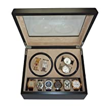 TimelyBuys 4 + 6 Quad Ebony Wood Automatic Watch Winder & Storage Case
