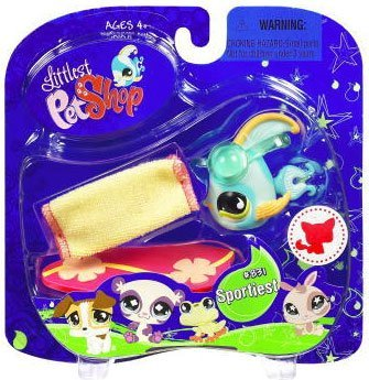 Buy Low Price Hasbro Littlest Pet Shop Assortment 'B' Series 2 Collectible Figure Blue Angel Fish with Surf Board (B001R63FZI)