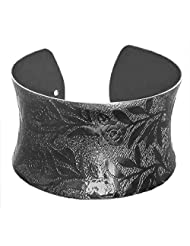 DollsofIndia Black Carved Metal Cuff Bracelet - Metal - Black
