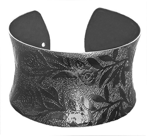 DollsofIndia Black Carved Metal Cuff Bracelet - Metal - Black