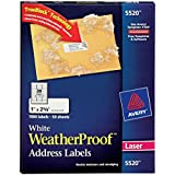 Avery White WeatherProof Labels for Laser Printers, 1 x 2.62 Inch, Box of 1500 (5520)