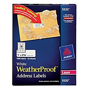 amazoncom avery white weatherproof labels for laser With avery weatherproof labels inkjet