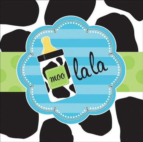 Creative Converting Baby Boy Cow Print Lunch Napkins, 16 Count