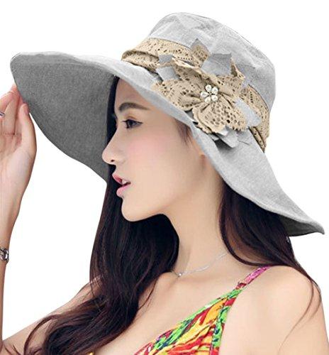 Fashion Floral secchio cappelli cappello rimovibile grande tesa protezione solare 2in 1primavera estate autunno cappelli di Sun Caps cappello outdoor viaggio spiaggia sole cappello secchio cappello stile per Donna o Ragazza UPF 50+, donna, Light Grey, Taglia unica