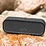 MOCREO Water-resistant NFC Portable Bluetooth Speaker Rugged Splash Proof + Hands-free Speakerphone w/ Built-in Mic + Dual Stereo Speakers +Slot Indoor/Outdoors Waterproof Speaker IPX5 + Latest Bluetooth 4.0 W/ NFC Compatible w/ Apple iPhone 6 Plus,5S; Samsung Galaxy Note 4, Galaxy S5, Galaxy S4; HTC One M8; Nexus 6, Nexus 9; LG G3; iPad Air; iPod; MP3 Players,NFC-enabled Devices - MOSOUND Crater (Black)