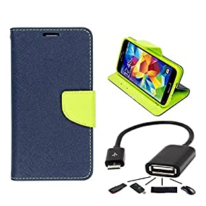 Relax And Shop Luxury Wallet Style Flip Cover For MicroMax Yuphoria - ( Blue+OTG )