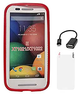 DMG Flexible Soft Glossy TPU Back Cover Case for Motorola Moto E XT1022 (Red) + Matte Screen + USB OTG Cable