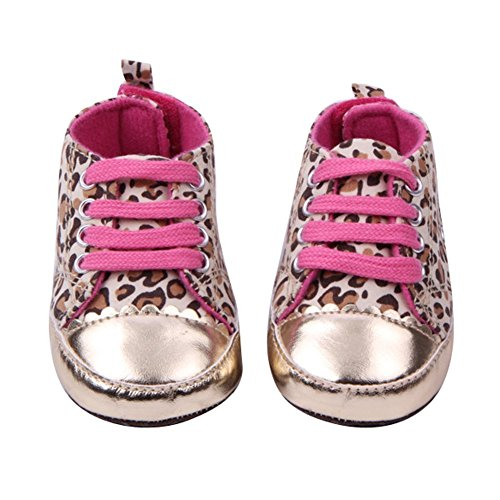 Eubuy Cute Leopard Newborn Baby Girl Infant Toddler Soft Princess Shoes Cack Walking Sneaker (13Cm/5.11Inch, Gold) front-303923