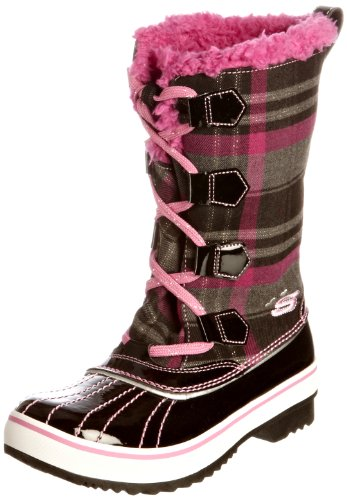 Skechers Kids 88606L Highlanders Safari Glitz Snow Boot,Black/Pink,11.5 M US Little Kid