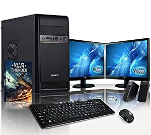 "VIBOX Alpha Package 4 - 3.9GHz AMD Dual Core, Desktop PC, Computer with WarThunder Game Bundle Package for the Home, Office or Family - Full Package with Two (2x) 19"" Dual Monitor Setup, Speakers, Keyboard & Mouse Bundle PLUS a Lifetime Warranty Included* (New 3.7Ghz (3.9GHz Turbo) AMD A4 6300 Dual Core Processor, Radeon HD 8370D Graphics Card Chip, 1TB HDD Hard Drive, 4GB 1600MHz RAM, No Operating System)"