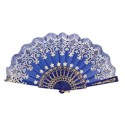 Plastic Rib Crown Pattern Powder Detail Dance Folding Fan Royal Blue