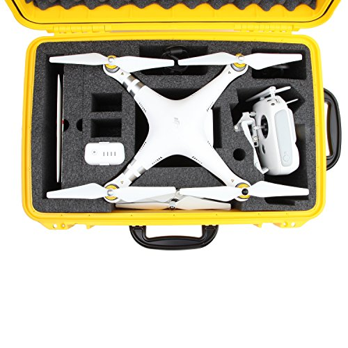 DJI Phantom 3 Hard Case. Military Spec., Waterproof and Airtight, Carrying Case with Foam for DJI Quadcopter and GoPro Accessories (Yellow With Wheels)
