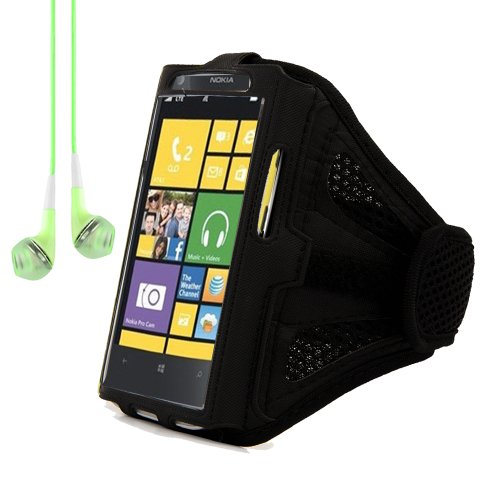 Adjustable Meshy Armband Pouch Case For Nokia Lumia Series Smartphones Windows Phone 8 (Black) + Green Headphones With Mic