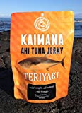 "Kaimana Jerky - The people of Hawai'i have sustained their families and respected the Pacific oceans powerful life force for centuries. In the Hawaiian language ""kaimana"" translates to ""power of the sea."" Kaimana Jerky has embraced the ancient art of drying fish to give our jerky a great taste for the modern lifestyle. Our variety of Ahi Tuna Jerky is delicately prepared, dried to perfection, and seasoned with quality ingredients. Handcrafted with Aloha for 25 years! Who can resist the teriyaki flavor? Not too sweet, not too salty, but just right! We make our own Teriyaki sauce from scratch with real ingredients. Our Ahi Tuna and Marlin jerkies are made on the Big Island of Hawaii, USA. We follow strict FDA guidelines to ensure our jerky is our the best quality."