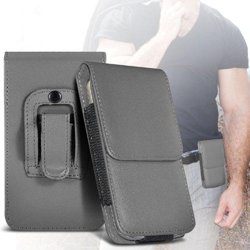 (Grey) Samsung Rex 60 Schutz PU-Leder Gürtelholster Pouch Tasche Halter By Fone-case