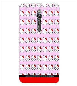 PrintDhaba Kitty pattern D-1772 Back Case Cover for ASUS ZENFONE 2 (Multi-Coloured)
