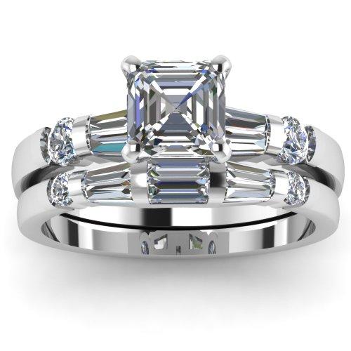 1.65 Ct Asscher Cut Diamond Engagement Wedding Rings Set SI2 GIA