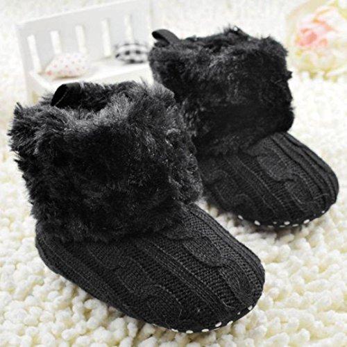 AMA(TM) Toddler Baby Girl Boy Snow Boots Soft Sole Crib Shoes Prewalker (6-12 months, Black)