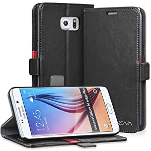 Galaxy S6 Edge+ Leather Wallet Case - VENA [vFolio] Slim Vintage Genuine Leather Wallet Stand Case with Card Slots for Samsung Galaxy S6 Edge+ (Black)