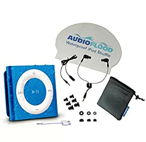 Waterproof Apple iPod Shuffle by AudioFlood with True Short Cord Headphones - Highest Rated Waterproof MP3 Player on Amazon (Blue)