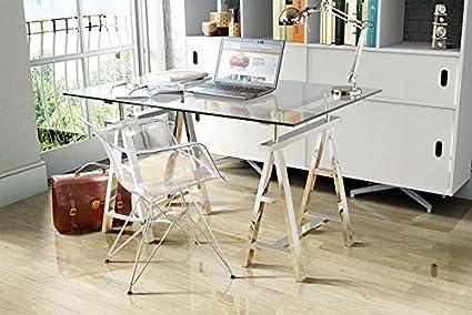 """MY-Furniture - Bureau avec plateau en verre sur tréteaux chassis en """"A"""" chromés - AIRA"""
