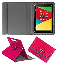 Acm Rotating 360° Leather Flip Case For Mercury M830g Tablet Stand Cover Holder Dark Pink