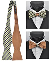 Woven Plaid Reversible Self-Tie Bow (Green)