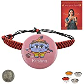 Little India Send Lord Krishna Cute Design Badge Rakhi To Brother Rakhi Raksha Bandhan Gift Band Moli Bracelet...