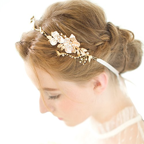 FAYBOX Gold Leaf Themed Crystal Pearl Bridal Headband Wedding Hair Accessories