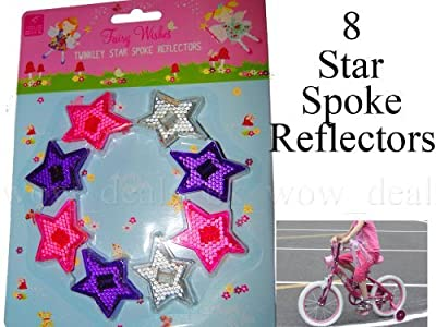 8 Twinkly Star Spoke Reflectors For Girls Bike High Visibilty Night Time