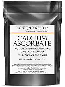 Calcium Ascorbate - Natural USP Buffered Vitamin C Crystalline Powder - 9% Ca / 82% Ascorbic Acid, 5 lb