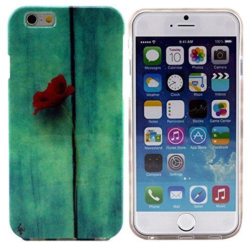 Vandot Accessories Set Premium Silicone Tpu Phone Case Red Flower Protective Case For New Apple Iphone 6 Plus 5.5 Inch Smartphone Cell Phone Skin Case Cover Bumper Case Skin Cover Pouch Skin Shell + 2 X Premium Screen Protector Ultra Clear Screen Protecto front-562189