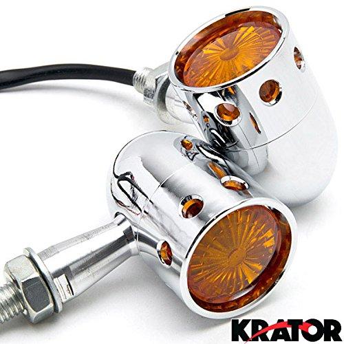 Krator® 2pcs Chrome Motorcycle Turn Signals Blinker Lights For Suzuki Boulevard M109R M50 M90 M95