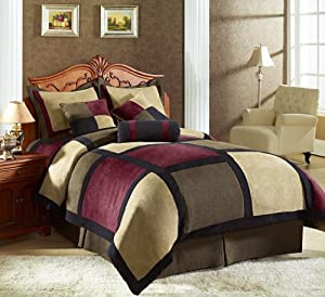 Chezmoi Collection Micro Suede Patchwork 7-Piece Comforter Set, Queen, Brown/Burgundy/Black