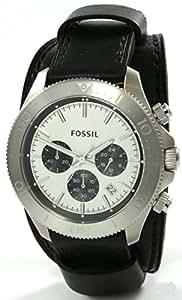 Fossil - CH2856 - Montre Homme - Quartz Analogique - Aiguilles lumineuses/Chronomètre - Bracelet Cuir Noir