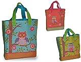 1 Stk: Umhängetasche / Schultertasche / Shopper mit Eulen und Blumen - Kindertasche Tasche Stoff Mädchen Tragetasche Eule