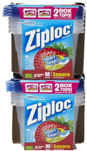 Ziploc Medium Square Container, 4 Ct-2 Pack
