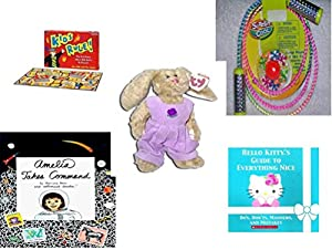 Girl's Gift Bundle - Ages 6-12 [5 Piece] - Kids Rule. Game - Sizzlin' Cool Crystal Jump Rope & Jax - TY Attic Treasure Iris The Bunny - The All-New Amelia Hardcover Book - Hello Kitty's Guide to Eve
