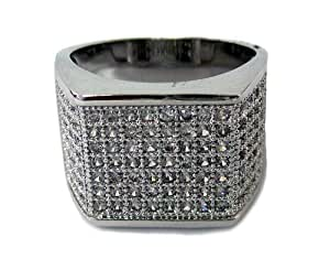 Mens Block of Ice Micropave A Class HipHop Bling Ring - T1/2 [Jewellery]