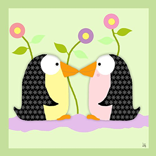 Green Leaf Art Penguins I Canvas Art