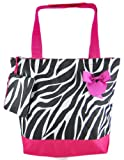 Zebra Hot Pink Tote with Bow