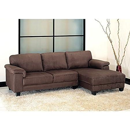 Living Room Capri Dark Brown Microsuede Sectional Sofa