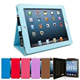 Snugg iPad 4 & iPad 3 Leather Case in Baby Blue - Flip Stand Cover with Elastic Hand Strap and Premium Nubuck Fibre Interior - Automatically Wakes and Puts the Apple iPad 4 & 3 to Sleep