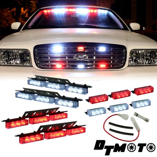 Red White 36X Led Ems Emt Emergency Vehicle Deck Dash Grill Strobe Warning Lights - 1 Set