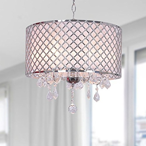 Marvelous  review best price for sale for discount along with good rating with regard to best price for saleCarina Chrome Finish Drum Shade Crystal Chandelier