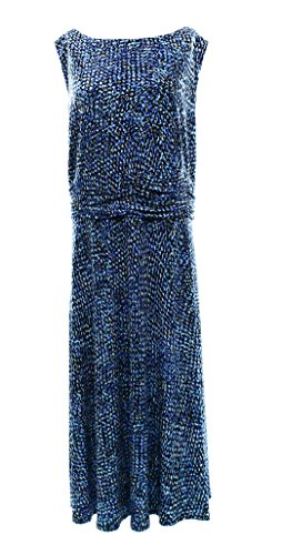 Jessica Howard Printed Womens Plus Ruches Waist A-Line Dress