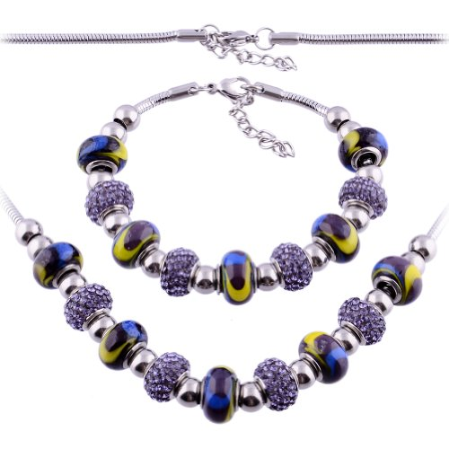 Kadima Stainless Steel Pandora Set Bracelet and Necklace,Bracelet 7.5 Inches, Necklace 18 Inches