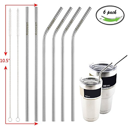 Aoocan 10.5-Inch Stainless Steel Straws for 30 and 20-Ounce Rambler Cups (Set of 6)