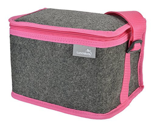 LunchBots Felt Insulated Lunch Bag Pink - 1